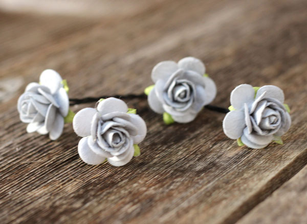Silver Grey Flower Hair Pins Wedding Bobby Pins